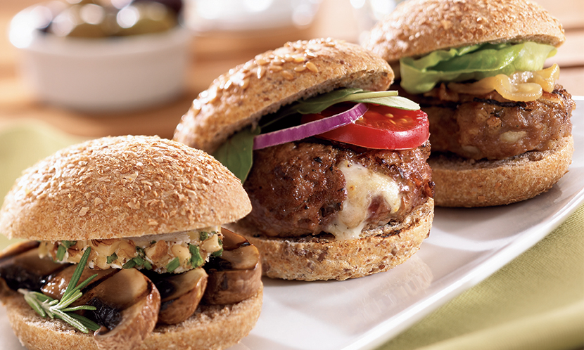 Beef Sliders stuffed with California Walnuts and Gorgonzola