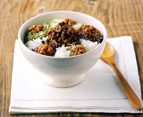 한그릇요리, 호두를 넣은 비빔밥 레시피