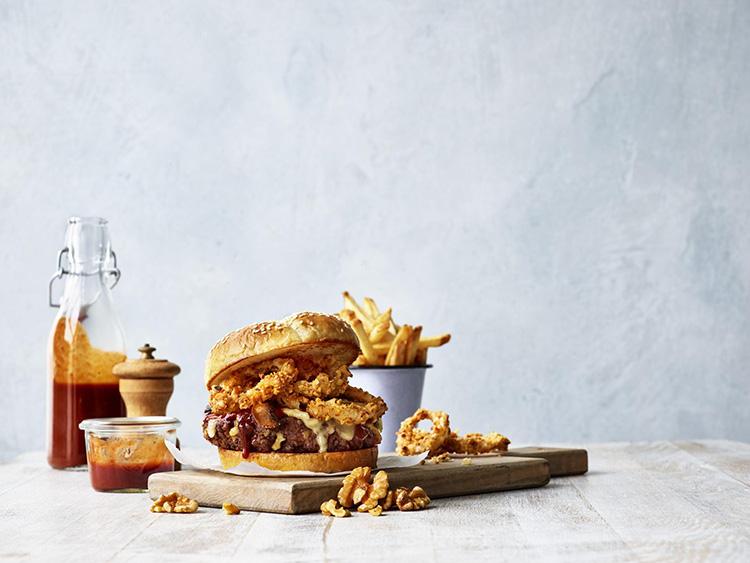 Vegan Hegetarian Hamburger Onion Rings Mushrooms French Fries Walnuts Ketchup
